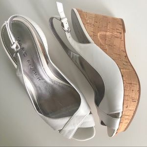 [Marc Fisher] White Leather Cork Heel Wedges